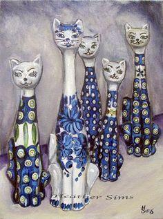 Cat Polish Pottery stoneware Fine  art PRINT Heather by 88heather, $6.00