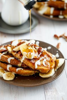 Banana Bread French Toast with a Cream Cheese Glaze | http://cafedelites.com