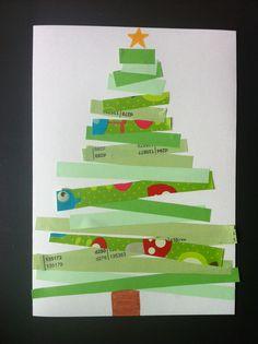 Ma carte de vœux cette année ressemblera à ça. Découverte du monde: formes et grandeurs ; les longueurs! Dyi Christmas Cards, Christmas Crafts For Gifts, Homemade Christmas, Christmas Ornaments, Preschool Crafts, Crafts For Kids, Montessori Art, Fabric Postcards, Theme Noel