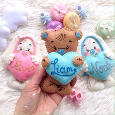 Custom Felt Bear, Personalized Bunny With Heart, Name White Rabbit, Custom Baby Toy, Brown Felted Be Felt Bunny, Bunny Toys, Christening Gifts For Girls, Owl Mobile, Valentines Day Baby, Clay Design, Felt Toys, Felt Ornaments, Baby Birthday