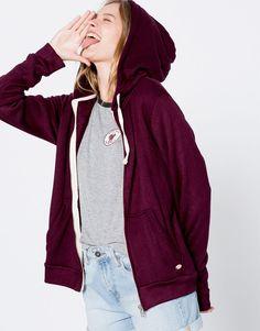 Pull&Bear - kadın - giyim - bestsellers ❤ - kapüşonlu sweatshirt - nar kırmızısı - 09590305-I2016