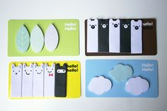 Kawaii Jstory memo sticky notes index markers cute bear rabbit clouds leaves
