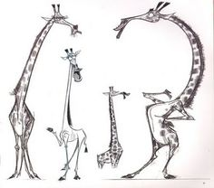 Melman the Giraffe Character Study / Concept Sketches for madagascar by  Craig Kellman