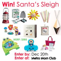 #MMCSleigh 36 ways to enter to win $585 worth of Christmas presents for your whole family from Metro Mom Club. Enter by 12/20 #giveaway @makewonder1 @barebonesliving @thinkfun @aardvarkstraws @habausa