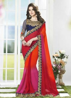 Designer Multicolored Faux Georgette With Patch Border Work Saree http://www.angelnx.com/