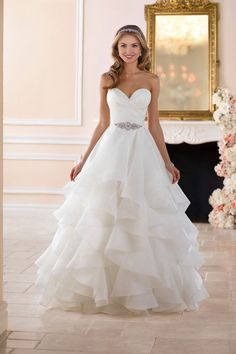 This dramatic layered skirt wedding dress from Stella York is truly a sight to b. - What's Your Stella York Dream? Wedding Dresses Plus Size, Dream Wedding Dresses, Bridal Dresses, Wedding Gowns, Bridesmaid Dresses, Layered Wedding Dresses, Lace Wedding, Wedding Fabric, Wedding Bridesmaids