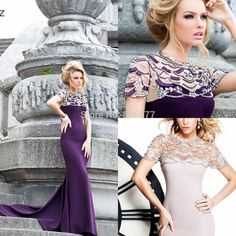 Find More Evening Dresses Information about 2015 Charming Mermaid Evening Gowns Short Sleeves Crystals Satin Hollow Back Long Vintage Formal Dress Tarik Ediz  ,High Quality gown cocktail dress,China dress patterns evening gowns Suppliers, Cheap gown material from LanXin Bridal Factory  on Aliexpress.com