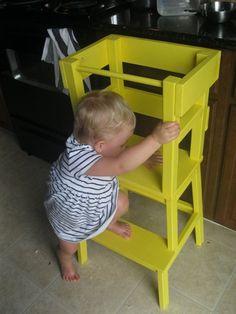 DIY Montessori Learning Tower using Ikea step stool. Infant Activities, Activities For Kids, Diy Montessori, Montessori Education, Ikea Stool, Ikea Inspiration, My Bebe, Kitchen Helper, Ikea Hackers