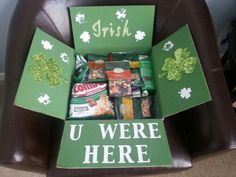 Patrick's Day Care Package Tap the link now to find the hottest products for your baby! Missionary Packages, Deployment Care Packages, Military Care Packages, Birthday Care Packages, Care Box, Care Care, St Patrick's Day Gifts, College Gifts, Do It Yourself Crafts