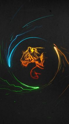 Minimalistic Art Colorful Tiger #iPhone #5s #Wallpaper