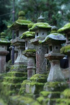 Zen Garden with Mossy Stone Lanterns - I want several of these please ;