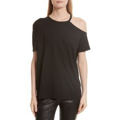 Women's Helmut Lang Deconstructed Pima Cotton Tee ($160) ❤ liked on Polyvore featuring tops, t-shirts, black, pima cotton tops, helmut lang t shirt, helmut lang, helmut lang top and pima cotton tee