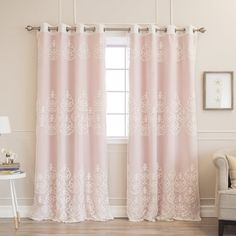 Shop Aurora Home Mix & Match Agatha Sheer and Blackout 4 Piece Curtain Set - On Sale - Overstock - 16118269 - 84 Inches - Light Pink Curtains To Go, Hanging Curtains, Panel Curtains, Shower Curtains, Blackout Panels, Blackout Curtains, Curtain Sets, Curtain Fabric, Curtain Styles