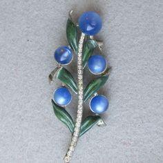 Adolph Katz for CORO 1940 Blue Moonglow & Enamel Flower Spray Pin