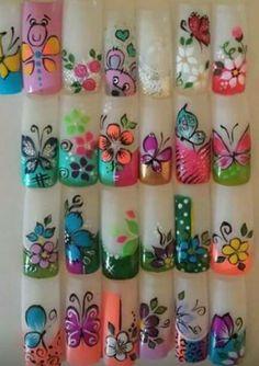 Flower Nail Designs, New Nail Designs, Flower Nail Art, Animal Nail Art, 3d Nail Art, 3d Nails, Fancy Nails, Trendy Nails, Airbrush Nails