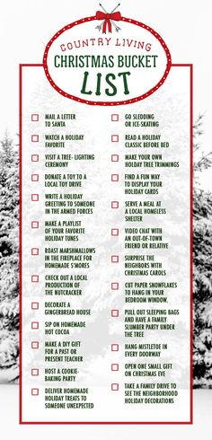 Download or pin a complete checklist of our 25 essential Christmas activities.    - CountryLiving.com