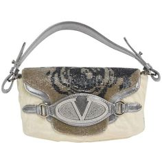 Preowned Valentino Runway Limited Edition Leather, Fur, Swarovski... ($3,500) ❤ liked on Polyvore featuring bags, handbags, clutches, grey, gray leather handbags, grey clutches, man leather shoulder bag, man bag and leather handbags