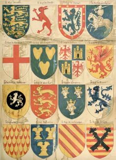 "PLATE III SHIELDS OF ARMS OF ""LE ROY DARRABE,"" ""LER ROY DE TARSSR,"" AND OTHER SOVEREIGNS, MOSTLY MYTHICAL, TAKEN FROM A ROLL OF ARMS MADE BY AN ENGLISH PAINTER IN THE TIME OF HENRY VI.  Drawn by William Gibb."