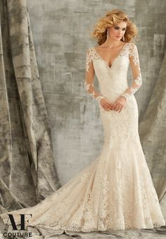 """Bridal Gowns By AF Couture featuring Embroidered Lace Appliques on Net Trimmed with Crystal Beading Available in Three Lengths: 55"""", 58"""", 61"""". Colors Available: White, Ivory, Ivory/Light Gold"""