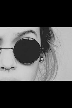 blackandwhite, goth, grunge, indie, pale, pastel, piercing, septum, soft, softgrunge, sunglases, tumblr