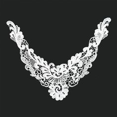 White guipure lace neckliner motif, $4.00 each. http://www.alacraft.com.au/white-guipure-lace-neckliner-motif-167.    Stitch or sew on. Ideal for decorating clothing especially for tops when the neckline is too low. Can also be used as a base embellishment for wedding dresses, costumes and dance wear.