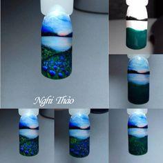Vẽ phong cảnh Nail – nghithao Nail Polish Flowers, Chic Nails, Arte Floral, Easy Nail Art, Nail Wraps, Nail Tutorials, Nail Inspo, Summer Nails, Nail Art Designs