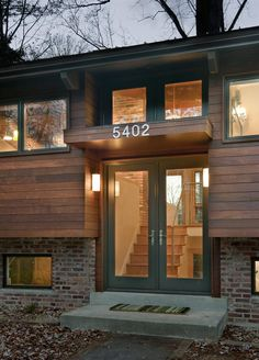 """What to do with a split level: """"Modern Revisited,"""" split entry modern remodel, exterior. Ranch Exterior, Exterior Remodel, Modern Exterior, Exterior Design, Modern Entry, Exterior Homes, Exterior Siding, Exterior Colors, Style At Home"""