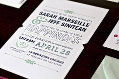 blue and green modern invite