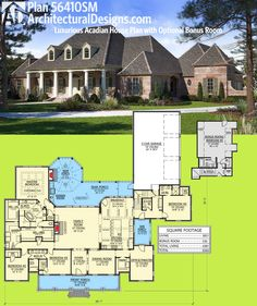 4381 sf - Architectural Designs House Plan 56410SM is an French County / Acadian beauty. It gives you 4 beds and a possible 5th over the garage. Ready when you are. Where do YOU want to build?