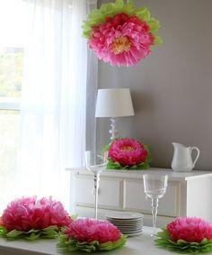 Light Pink Flower Pom Set by Heart to Heart Tissue paper flowers- super cute for little girls room decor! Handmade Flowers, Diy Flowers, Fabric Flowers, Hanging Flowers, Pretty Flowers, Tissue Paper Flowers, Tissue Poms, Paper Poms, Pom Poms