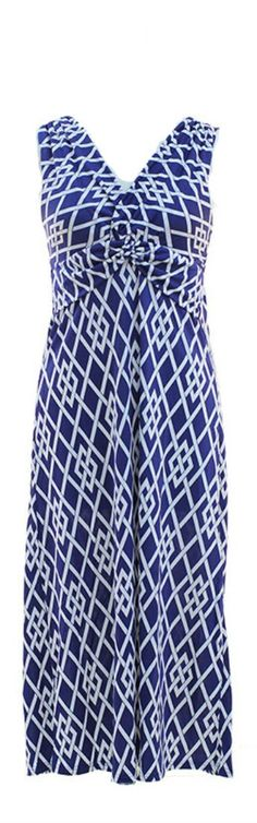 Plum Feathers Poly Span Empire Waist Tribal Print Maxi Ruched Dress (Small, Blue Geo)