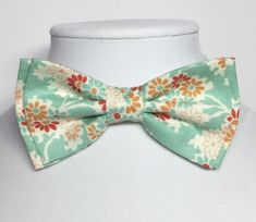 Mint Bow Tie Mens Bow Tie Fathers Day Bow Tie Mint Coral Bow Tie Mint Peach Bow Tie Mint Vintage Tie Vintage Floral Bow Tie Red Mint Tie by FourHappyHearts on Etsy