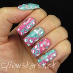 Pastel leopard print and stars: a manicure using All That Jazz Ice Ice Baby, China Glaze For Audrey, Rimmel Strawberry Fizz and WIP Twinkle