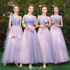Affordable Classy Lavender Bridesmaid Dresses 2019 A-Line / Princess Bow Sash Floor-Length / Long Ruffle Backless Wedding Party Dresses Classic Wedding Dress, Sexy Wedding Dresses, Bridal Dresses, Wedding Gowns, Prom Dresses, Lavender Bridesmaid Dresses, Bridesmaids, Backless Wedding, Ladies Dress Design