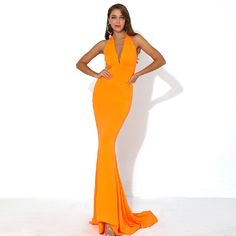 Color : Orange Material : Denim , Polyester Style : Sexy & Club Pattern Type : Solid Neckline : V-Neck The post Sexy V Neck Off Shoulder Backless Solid Color Elegant Maxi Dress appeared first on Power Day Sale. Maxi Outfits, Club Outfits, Club Dresses, Sexy Dresses, Fashion Outfits, Elegant Maxi Dress, Strapless Dress Formal, New Years Outfit, Fashion Colours