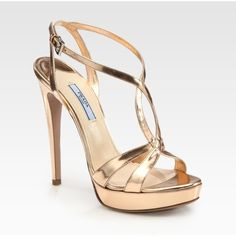 Prada Metallic Leather Platform Sandals (1 280 PLN) found on Polyvore