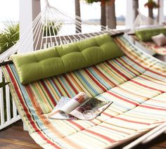 I want this hammock.  Love the background too Double Hammock, Baby Hammock, Hammock Swing, Hammocks, Hammock Cover, Hammock Ideas, Backyard Hammock, Outdoor Hammock, Outdoor Patios