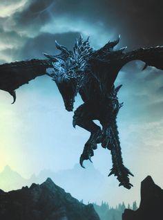 The Elder Scrolls V - Skyrim Elder Scrolls V Skyrim, Mythological Creatures, Fantasy Creatures, Skyrim Wallpaper, Scrolls Game, Shadow Wolf, Mythical Dragons, Legendary Dragons, Dragon Artwork