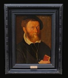 Portrait of a man holding a Bible. Entourage of #Antwerp painter Adriaen Thomasz #Key (1544-1590). #Oil on #panel. Flanders, #16th. For sale on Proantic by ACIES HUMANA.