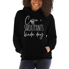 Coffee and Sweatpants Kinda Day Unisex Hoodie, Funny weekend sweatshirt, Lazy day hoodie Hoodie Sweatshirts, Hoodies, Chalk Lettering, Goldendoodle, Unisex, Black Hoodie, Rib Knit, Graphic Sweatshirt, Skinny