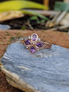 Beautiful 9 ct Rose Gold Bezel set Amethyst and Pearl Ring Engagement Rings Under 500, Pearl Jewelry, Vintage Jewelry, Seed Pearl Ring, Pretty Box, Vintage Diamond, Unique Rings, Heart Ring, Amethyst