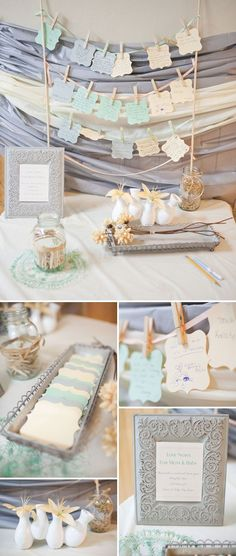 Love this blue and gray color palette! Dream Big Baby Shower - notes for mom & baby