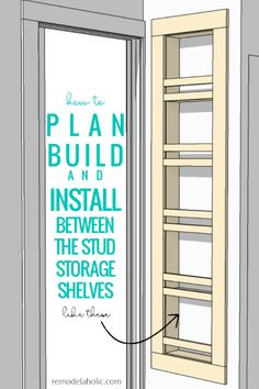 Adding Built-In Shelves for Bathroom In-Wall Storage How To Plan Build And Install Built In Between The Stud Storage Shelves For A Small Bathroom Small Bathroom Storage, Laundry Room Storage, Bathroom Shelves, Closet Storage, Bathroom Organization, Diy Storage, Locker Storage, Storage Ideas, Organization Ideas