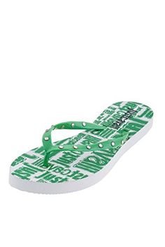 13cc12a1dc9 Amazon.com  Just Cavalli Women Green Logo Embellished Flats Thong Rubber  Beach Sandals Shoes US 9 EU 39  Shoes