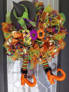 Wicked Witch Halloween Wreath, Halloween Wreath, Deco Mesh Wreath, Halloween Decoration by OccasionsBoutique on Etsy