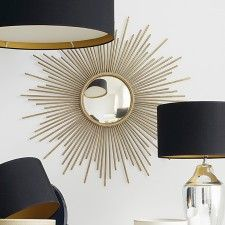 sunburst mirror with a convex distressed face and symmetrically placed gold sun bursts is a wall mirror masterpiece. Elegant and decorative, it is certainly to add style to any wall and space. Starburst Mirror, Oval Mirror, Sun Mirror, Furniture Styles, Furniture Design, Decorating Your Home, Decorating Ideas, Home Accessories, Colors