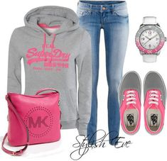 Grey hoddy, jeans, wrist watch, jeans, pink bag and snickers for ladies