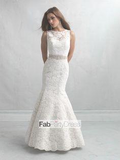 Trumpet / Mermaid Bateau   Beading  Sleeveless Sweep / Brush Train Lace  Wedding Dresses For Bride