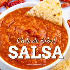 Spicy salsa, my friends! Made with dried chile de arbol peppers and a few other fresh flavor-building ingredients. It's definitely hot and spicy! Great for tacos, the ultimate salsa roja. Easy to make! Mexican Salsa Recipes, Mexican Dishes, Chili Recipes, Mild Salsa, Spicy Salsa, Hot Salsa, Easy Cooking, Cooking Recipes, Fresh Salsa Recipe