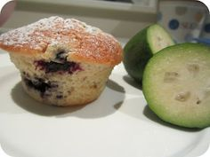 It's feijoa season my friends and what better way to celebrate than to share a y. - It's feijoa season my friends and what better way to celebrate than to share a yummy feijoa recip - Pineapple Guava, Fruit Trees, No Bake Desserts, Blueberry, Sweet Tooth, Muffins, Baking, Eat, Breakfast